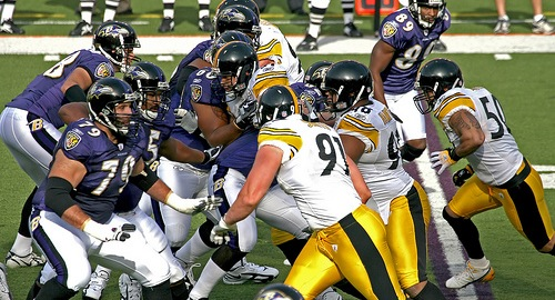 The Ravens fly into Heinz Field in Pittsburgh